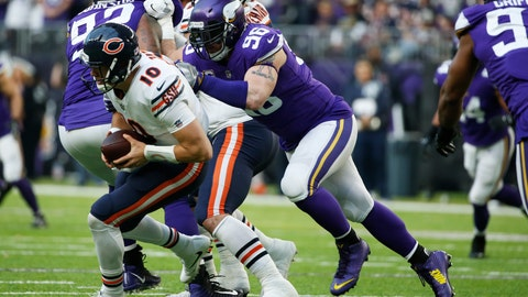 <p>               File-This Dec. 31, 2017, file photo shows Minnesota Vikings defensive end Brian Robison (96) sacking Chicago Bears quarterback Mitchell Trubisky (10) during the second half of an NFL football game in Minneapolis. The Vikings have released Robison, their longest-tenured player who's tied for ninth in team history with 60 career sacks. Robison was the standout of the players cut by the Vikings before the deadline on Saturday, Sept. 1, 2018, to reach the 53-man limit for the regular season. (AP Photo/Bruce Kluckhohn, File)             </p>