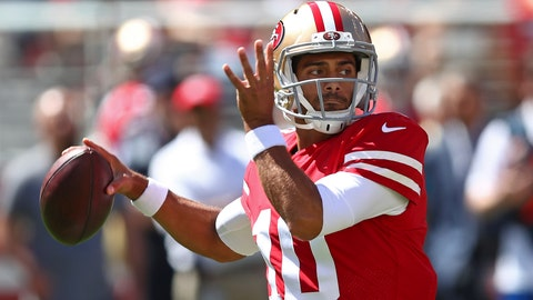 <p>               San Francisco 49ers quarterback Jimmy Garoppolo drops back to throw during the first half of an NFL football game against the Detroit Lions in Santa Clara, Calif., Sunday, Sept. 16, 2018. (AP Photo/Ben Margot)             </p>