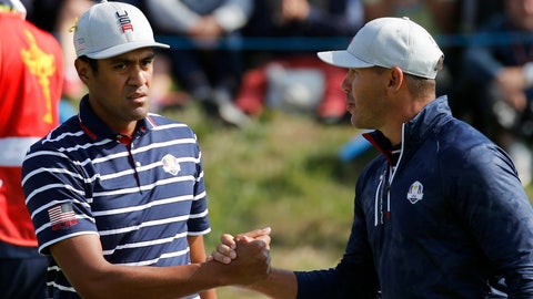 <p>               Tony Finau of the US, left, and his teammate Brooks Koepka congratulate each other on the 15th during their fourball match against Europe players Justin Rose and Jon Rahm on the opening day of the 42nd Ryder Cup at Le Golf National in Saint-Quentin-en-Yvelines, outside Paris, France, Friday, Sept. 28, 2018. (AP Photo/Francois Mori)             </p>