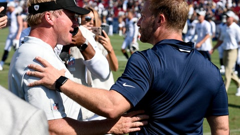 "<p>               FILE - In this Aug. 18, 2018, file photo, Los Angeles Rams head coach Sean McVay, right, greets Oakland Raiders head coach Jon Gruden after their NFL preseason football game, in Los Angeles. There is quite a bit of intrigue in what Gruden's offense will look like in his first game as coach in 10 years. He spent the past nine seasons after being fired in Tampa Bay as the analyst for ""Monday Night Football."" Gruden spent much of the offseason talking about wanting to bring the Raiders back to 1998. He showed almost none of his offense in the preseason but his former protege and current Rams coach Sean McVay knows to expect the unexpected.(AP Photo/Kelvin Kuo, File)             </p>"