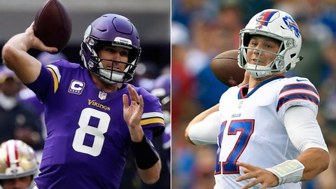 <p>               FILE - At left, in a Sept. 9, 2018, file photo, Minnesota Vikings quarterback Kirk Cousins throws a pass during the first half of an NFL football game against the San Francisco 49ers,  in Minneapolis. At right, in a Sept. 16, 2018, file photo, Buffalo Bills quarterback Josh Allen looks to throw during the first half of an NFL football game against the Los Angeles Chargers, in Orchard Park, N.Y.  Cousins showed why the Vikings gave him that big contract with his performance on the road against the rival Packers last week. Allen looked a lot like a rookie for the Bills in his first career start, at home against the Chargers. The quarterbacks in the Buffalo-Minnesota game are in much different places. (AP Photo/File)             </p>
