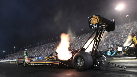 <p>               In this photo provided by the NHRA, Mike Salinas races to the top of the Top Fuel category Friday, Aug. 31, 2018, during the single qualifying session at the annual Chevrolet Performance U.S. Nationals at Lucas Oil Raceway at Indianapolis. (NHRA photo Marc Gewertz)             </p>