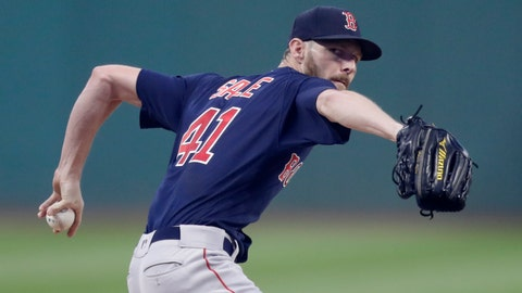 <p>               Boston Red Sox starting pitcher Chris Sale delivers in the first inning of the team's baseball game against the Cleveland Indians, Friday, Sept. 21, 2018, in Cleveland. (AP Photo/Tony Dejak)             </p>