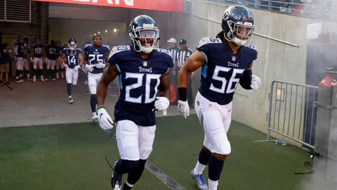 <p>               FILE - In this Aug. 18, 2018, file photo, Tennessee Titans defensive back Demontre Hurst (20) and linebacker Sharif Finch (56) take the field before a preseason NFL football game against the Tampa Bay Buccaneers, in Nashville, Tenn. Sharif Finch has been on a rollercoaster of emotion since his father died July 30 with the undrafted rookie linebacker out of Temple in training camp trying to earn a roster spot with the Tennessee Titans. He attended the funeral, got a sack days later in his first NFL preseason game and now he finds himself one of four undrafted free agent rookies on the Titans' roster for opening week.(AP Photo/James Kenney, File)             </p>