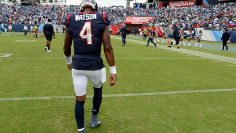 <p>               Houston Texans quarterback Deshaun Watson leaves the field after an NFL football game against the Tennessee Titans Sunday, Sept. 16, 2018, in Nashville, Tenn. The Titans won 20-17. (AP Photo/Mark Zaleski)             </p>