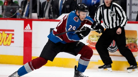 <p>               FILE - In this Feb. 18, 2018, file photo, Colorado Avalanche center Nathan MacKinnon skates down the ice in pursuit of the puck during the first period of an NHL hockey game against the Edmonton Oilers in Denver. The Avalanche open training camp Friday, Sept. 15, and face Las Vegas Tuesday in the opening preseason game. (AP Photo/David Zalubowski, File)             </p>