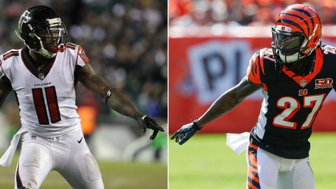 <p>               FILE - At left, in a Jan. 13, 2018, file photo, Atlanta Falcons' Julio Jones (11) in shown during the second half of an NFL divisional playoff football game against the Philadelphia Eagles, in Philadelphia. At right, in an Oct. 1, 2017, file photo, Cincinnati Bengals cornerback Dre Kirkpatrick (27) plays against the Cleveland Browns in the first half of an NFL football game, in Cleveland. Jones was a star at Alabama, getting drafted by Atlanta in the first round in 2011. Kirkpatrick covered him in practice at Alabama before he, too, went to the NFL, getting drafted in the first round by the Bengals a year later. On Sunday, Sept. 30, they'll be matched up in Atlanta. (AP Photo/File)             </p>