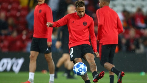 <p>               PSG's Neymar warms up ahead of the Champions League Group C soccer match between Liverpool and Paris-Saint-Germain at Anfield stadium in Liverpool, England, Tuesday, Sept. 18, 2018. (AP Photo/Dave Thompson)             </p>