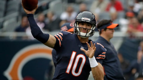 <p>               Chicago Bears quarterback Mitchell Trubisky (10) warms up before an NFL football game against the Tampa Bay Buccaneers Sunday, Sept. 30, 2018, in Chicago. (AP Photo/Nam Y. Huh)             </p>