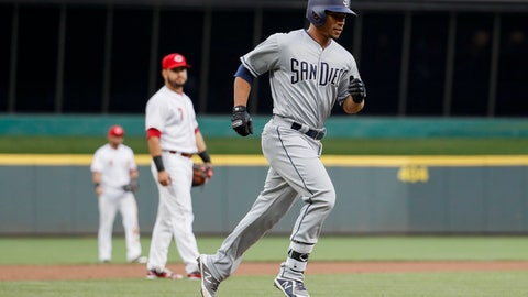 <p>               San Diego Padres' Francisco Mejia runs the bases after hitting a solo home run off Cincinnati Reds starting pitcher Luis Castillo during the third inning of a baseball game Thursday, Sept. 6, 2018, in Cincinnati. (AP Photo/John Minchillo)             </p>