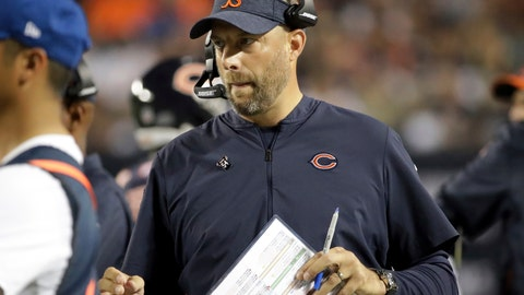 <p>               Chicago Bears head coach Matt Nagy watches from the sideline during the first half of an NFL football game against the Seattle Seahawks Monday, Sept. 17, 2018, in Chicago. (AP Photo/Nam Y. Huh)             </p>