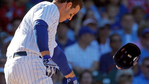 <p>               Chicago Cubs' Anthony Rizzo throws his helmet after striking out against the Cincinnati Reds during the seventh inning of a baseball game Sunday, Sept. 16, 2018, in Chicago. (AP Photo/Jim Young)             </p>