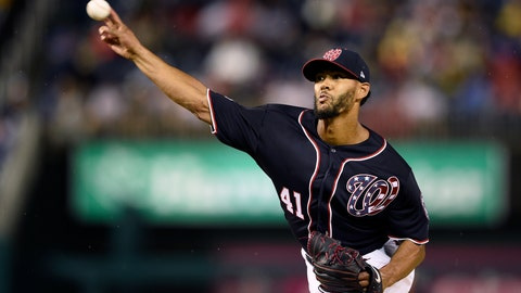 <p>               Washington Nationals starting pitcher Joe Ross delivers during the first inning of a baseball game against the Chicago Cubs, Friday, Sept. 7, 2018, in Washington. (AP Photo/Nick Wass)             </p>