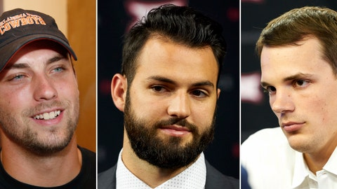 <p>               FILE - From left are 2018 file photos showing Oklahoma State quarterback Taylor Cornelius, West Virginia quarterback Will Grier and Iowa State quarterback Kyle Kempt. Oklahoma State coach Mike Gundy considers Taylor Cornelius somewhat of a dinosaur, and not because his starting quarterback's 23rd birthday is coming up. West Virginia's 23-year-old starter Will Grier is married with a young daughter. Kyle Kempt got a sixth college season after taking over as Iowa State's starting quarterback the middle of last season. (AP Photo/File)             </p>