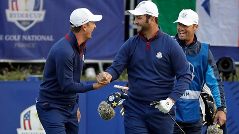 <p>               Europe's Justin Rose, left, and Jon Rahm react after teeing off during their fourball match against Brooks Koepka of the US and Tony Finau on the opening day of the 42nd Ryder Cup at Le Golf National in Saint-Quentin-en-Yvelines, outside Paris, France, Friday, Sept. 28, 2018. (AP Photo/Matt Dunham)             </p>