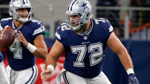 <p>               FILE - In this Nov. 23, 2017, file photo, Dallas Cowboys center Travis Frederick (72) defends as quarterback Dak Prescott (4) prepares to pass during an NFL football game against the Los Angeles Chargers, in Arlington, Texas. Frederick says he was relieved to know what was wrong when he was diagnosed with a nerve disorder, even though the four-time Pro Bowl center faces an uncertain recovery. (AP Photo/Roger Steinman, File)             </p>