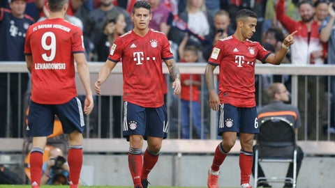<p>               Bayern's scorer James, center, and his teammates celebrate their side's third goal during the German Bundesliga soccer match between FC Bayern Munich and Bayer Leverkusen in Munich, Germany, Saturday, Sept. 15, 2018. (AP Photo/Matthias Schrader)             </p>