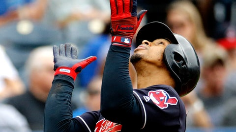 <p>               Cleveland Indians' Francisco Lindor celebrates as he crosses the plate after hitting a solo home run during the third inning of a baseball game against the Kansas City Royals Sunday, Sept. 30, 2018, in Kansas City, Mo. (AP Photo/Charlie Riedel)             </p>