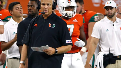 <p>               Miami coach Mark Richt watches from the sideline during the second half of the team's NCAA college football game against LSU on Sunday, Sept. 2, 2018, in Arlington, Texas. (AP Photo/Ron Jenkins)             </p>