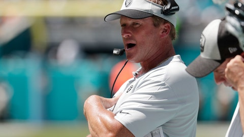 <p>               Oakland Raiders head coach Jon Gruden walks the sideline during the first half of an NFL football game against the Miami Dolphins, Sunday, Sept. 23, 2018, in Miami Gardens, Fla. (AP Photo/Lynne Sladky)             </p>
