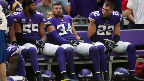 <p>               Minnesota Vikings players Anthony Barr, from left, Andrew Sendejo and Harrison Smith sit on the bench aft the end of an NFL football game against the Buffalo Bills, Sunday, Sept. 23, 2018, in Minneapolis. The Bills won 27-6. (AP Photo/Jim Mone)             </p>