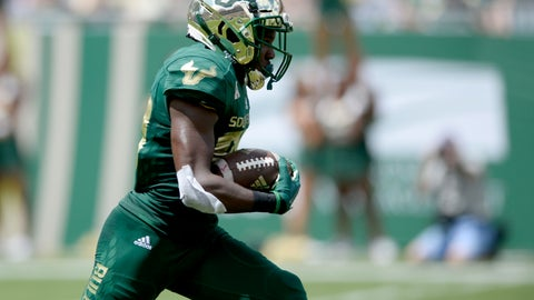 <p>               South Florida wide receiver Terrence Horne, Jr. (80) returns a kickoff for a touchdown during the first quarter of an NCAA football game against the Georgia Tech, Saturday, Sept. 8, 2018, in Tampa, Fla. (AP Photo/Jason Behnken)             </p>