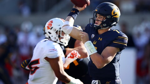 <p>               California quarterback Chase Garbers, right, passes against Idaho State during the second half of an NCAA college football game Saturday, Sept. 15, 2018, in Berkeley, Calif. (AP Photo/Ben Margot)             </p>