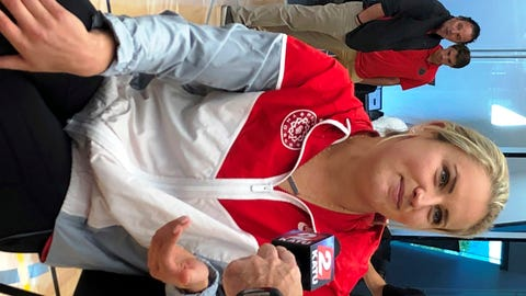 <p>               In this photo taken Sept. 20, 2018, Portland Thorns player Lindsey Horan speaks with reporters at a media event for the National Women's Soccer League at Nike in Beaverton, Ore. Horan was named the league's Most Valuable Player. (AP Photo/Anne M. Peterson).             </p>