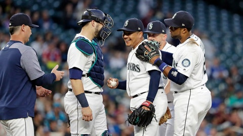 <p>               Seattle Mariners starting pitcher Erasmo Ramirez, center, smiles while being relieved against the Baltimore Orioles in the sixth inning of a baseball game Monday, Sept. 3, 2018, in Seattle. (AP Photo/Elaine Thompson)             </p>