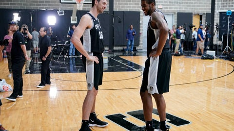 <p>               San Antonio Spurs NBA basketball players Pau Gasol, left, and LaMarcus Aldridge talk during media day at the Spurs practice facility in San Antonio, Monday, Sept. 24, 2018. (AP Photo/Darren Abate)             </p>