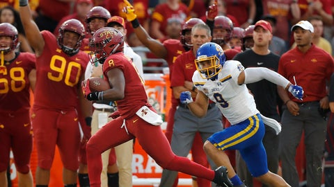 <p>               Iowa State wide receiver Deshaunte Jones, left, breaks away from South Dakota State cornerback Jordan Brown, right, to score a touchdown during the first half of an NCAA college football game, Saturday, Sept. 1, 2018, in Ames, Iowa. (AP Photo/Matthew Putney)             </p>