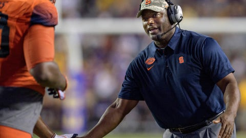<p>               FILE - In this Sept. 23, 2017, file photo, Syracuse coach Dino Babers celebrates a touchdown with his team against LSU in the second half of an NCAA college football game in Baton Rouge, La. Syracuse has won its first two games for the first time under Babers, in his third season with the Orange, and his uptempo offense is purring. (AP Photo/Matthew Hinton, File)             </p>