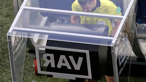 <p>               FILE - In this Friday, June 22, 2018 file photo, eeferee Matt Conger from New Zealand watches the Video Assistant Referee system, known as VAR during the group D match between Nigeria and Iceland at the 2018 soccer World Cup in the Volgograd Arena in Volgograd, Russia. The video assistant referee system has been much talked about since being used at the World Cup earlier this year, and on Sunday Sept. 30, 2018, VAR stopped working during the 1-1 draw between Rennes and Toulouse. (AP Photo/Themba Hadebe, File)             </p>