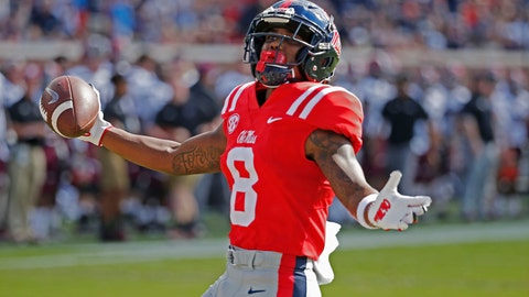 <p>               In this Saturday, Sept. 8, 2018, photo, Mississippi wide receiver Elijah Moore (8) celebrates his 50-yard touchdown pass reception against Southern Illinois during an NCAA college football game at Vaught-Hemingway Stadium in Oxford, Miss. Mississippi won 76-41. Through two games, Mississippi has one of the nation's most productive offenses. The Rebels also have a defense that's among the nation's worst. (AP Photo/Rogelio V. Solis)             </p>