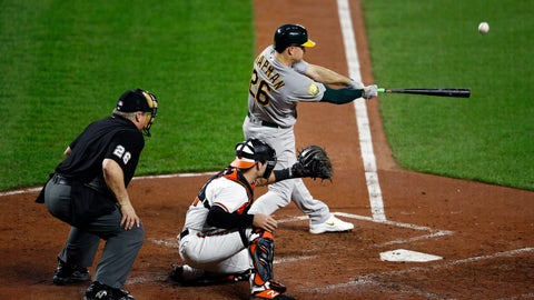 <p>               Oakland Athletics' Matt Chapman, right, doubles in front of Baltimore Orioles catcher Austin Wynns and umpire Bill Miller in the third inning of a baseball game, Wednesday, Sept. 12, 2018, in Baltimore. Nick Martini and Jonathan Lucroy scored on the play. (AP Photo/Patrick Semansky)             </p>