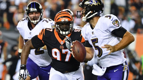 <p>               FILE - In this Sept. 13, 2018, file photo, Cincinnati Bengals defensive tackle Geno Atkins (97) pursues Baltimore Ravens quarterback Joe Flacco (5) before completing the sack during the first half of an NFL football game in Cincinnati. Atkins has looked super, getting three sacks and plenty of pressures. (AP Photo/Bryan Woolston, File)             </p>