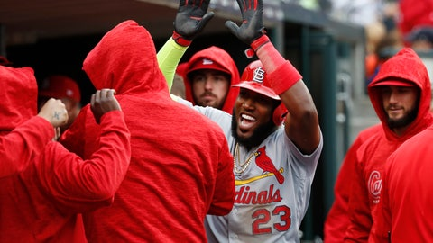 <p>               St. Louis Cardinals' Marcell Ozuna (23) reacts after scoring in the seventh inning of a baseball game against the Detroit Tigers in Detroit, Sunday, Sept. 9, 2018. (AP Photo/Paul Sancya)             </p>