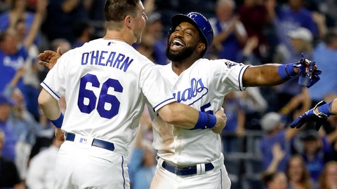 <p>               Kansas City Royals' Brian Goodwin celebrates with Ryan O'Hearn (66) after scoring the winning run on a sacrifice bunt hit by Alcides Escobar during the 10th inning of a baseball game against the Chicago White Sox Monday, Sept. 10, 2018, in Kansas City, Mo. The Royals won 4-3. (AP Photo/Charlie Riedel)             </p>