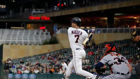 <p>               Minnesota Twins' Joe Mauer follows through on a base hit against the Detroit Tigers during a baseball game Tuesday, Sept. 25, 2018, in Minneapolis. (Richard Tsong-Taatarii/Star Tribune via AP)             </p>
