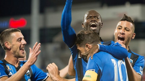 <p>               FILE - In this Saturday, Sept. 22, 2018, file photo, Montreal Impact's Micheal Azira, center, celebrates with teammates after scoring against New York City FC during the first half of an MLS soccer match in Montreal. The North is making noise in the East. And no, it's not Toronto FC. The Impact are unexpectedly in the playoff picture after a two-month climb up the standings.  (Peter McCabe/The Canadian Press via AP, File)             </p>