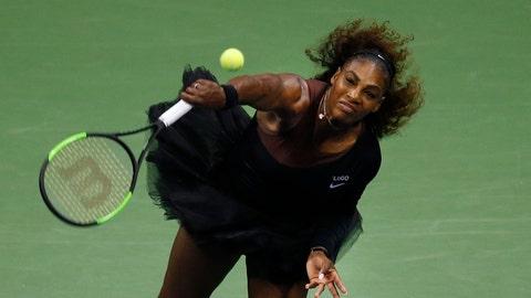 <p>               Serena Williams, of the United States, serves to Karolina Pliskova, of the Czech Republic, during the quarterfinals of the U.S. Open tennis tournament, Tuesday, Sept. 4, 2018, in New York. (AP Photo/Jason DeCrow)             </p>