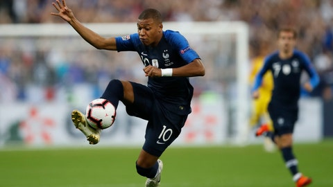 <p>               France's Kylian Mbappe controls the ball during the UEFA Nations League soccer match between France and The Netherlands at the Stade de France stadium in Saint-Denis, outside Paris, France, Sunday, Sept. 9, 2018. (AP Photo/Christophe Ena)             </p>