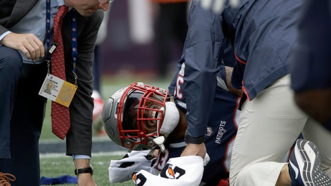 <p>               New England Patriots running back Jeremy Hill receives attention on the field after an injury during the second half of an NFL football game against the Houston Texans, Sunday, Sept. 9, 2018, in Foxborough, Mass. (AP Photo/Steven Senne)             </p>