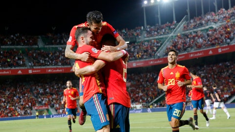 <p>               Spain's Saul Niguez, front left, celebrates with teammates after scoring his side's opening goal during the UEFA Nations League soccer match between Spain and Croatia at the Manuel Martinez Valero stadium in Elche, Spain, Tuesday Sept. 11, 2018. (AP Photo/Alberto Saiz)             </p>