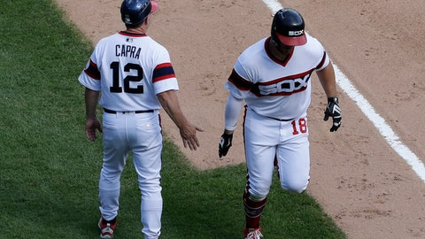 <p>               Chicago White Sox's Daniel Palka, right, celebrates with third base coach Nick Capra after hitting a solo home run during the fourth inning of a baseball game against the Boston Red Sox, Sunday, Sept. 2, 2018, in Chicago. (AP Photo/Nam Y. Huh)             </p>