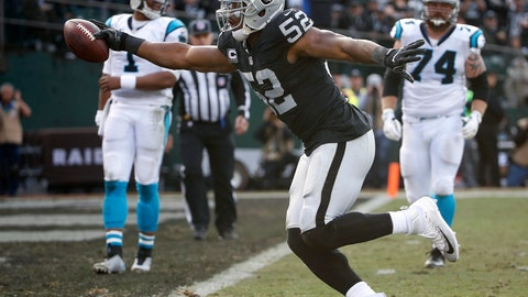 <p>               FILE - In this Nov. 27, 2016, file photo, Oakland Raiders defensive end Khalil Mack (52) scores a touchdown after intercepting a pass from Carolina Panthers quarterback Cam Newton (1) during the first half of an NFL football game in Oakland, Calif.  The Chicago Bears have acquired star pass rusher Khalil Mack from the Raiders on Saturday, Sept. 1, 2018, in a massive trade that sends two first-round draft picks to Oakland. A person with direct knowledge of the trade told The Associated Press that Oakland will get first-round selections in 2019 and 2020, a sixth-rounder next year and a third-rounder in 2020. Oakland also included its second-round selection in 2020. The person spoke on condition of anonymity because the trade had not been announced.  (AP Photo/Tony Avelar, File)             </p>