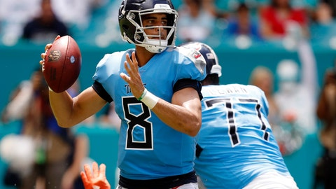 <p>               FILE - In this Sunday, Sept. 9, 2018, file photo, Tennessee Titans quarterback Marcus Mariota (8) looks to pass during the first half of an NFL football game against the Miami Dolphins in Miami Gardens, Fla. Titans hope the numbness in Mariota's hand wears off. (AP Photo/Brynn Anderson, File)             </p>
