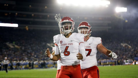 <p>               Fresno State quarterback Marcus McMaryion (6) celebrates after scoring a rushing touchdown against UCLA during the first half of an NCAA college football game Saturday, Sept. 15, 2018, in Pasadena, Calif. (AP Photo/Marcio Jose Sanchez)             </p>