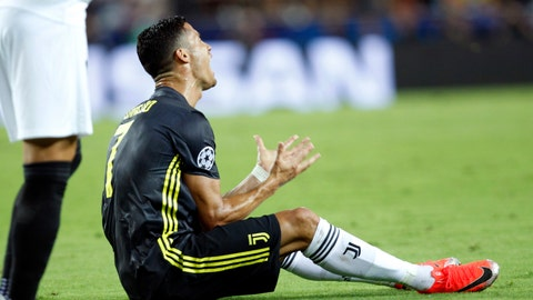 <p>               Juventus forward Cristiano Ronaldo reacts after receiving a red card during the Champions League, group H soccer match between Valencia and Juventus, at the Mestalla stadium in Valencia, Spain, Wednesday, Sept. 19, 2018. (AP Photo/Alberto Saiz)             </p>