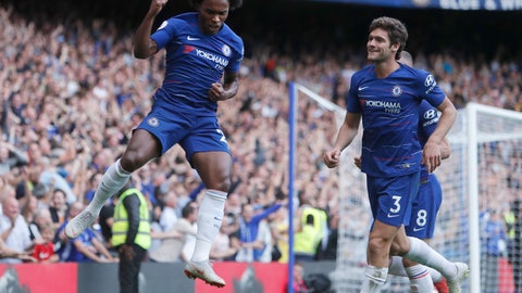 <p>               Chelsea's Willian, left, celebrates scoring his sides 4th goal of the game during their English Premier League soccer match between Chelsea and Cardiff City at Stamford Bridge stadium in London Saturday, Sept. 15, 2018. (AP Photo/Alastair Grant)             </p>